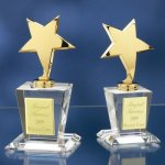 Brass Stars with Crystal Bases Achievement Award Trophies