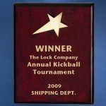 Piano Finish Wood Plaque with Brass Star Achievement Award Trophies