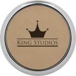 Leatherette Round Coaster with Silver Edge -Light Brown Boss Gift Awards