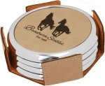 Leatherette Round Coaster Set with Silver Edge -Light Brown Boss Gift Awards