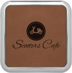 Leatherette Square Coaster with Silver Edge -Dark Brown Employee Awards