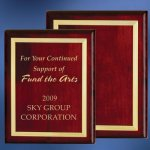 Piano Finish Wood Plaque with Brass Border Sales Awards